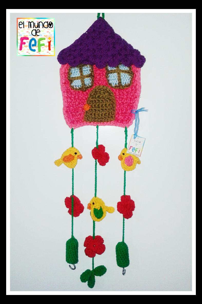 El mundo de fefi hogar dulce hogar casita al crochet para colgar las llaves - Para colgar llaves ...