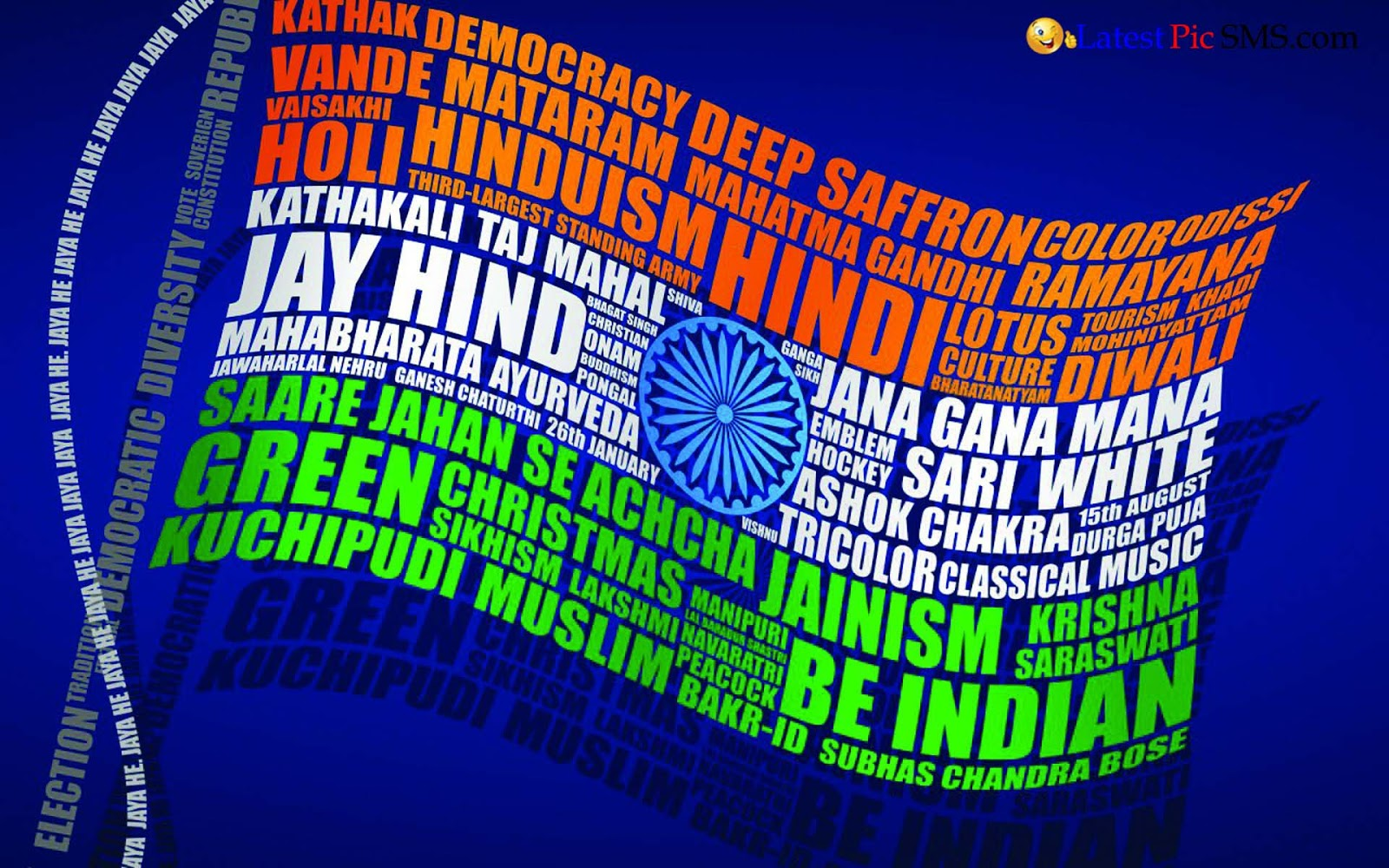 Amazing Beautiful Indian Flag with Written Thought