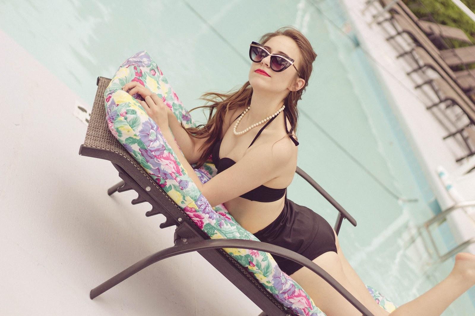 retro, style, fashion blogger, high waist bathing suit, vintage, retro bathing suit, vintage bathing suit, taylor swift style, glamorous, old hollywood, 1950s style, 1960's stye, fashion blogger, film blogger, cat eye sunglasses, asos,
