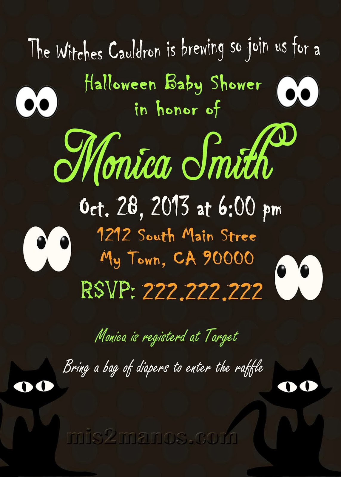 Mis Manos Made By My Hands Halloween Baby Shower Invitation - Halloween baby shower invitations