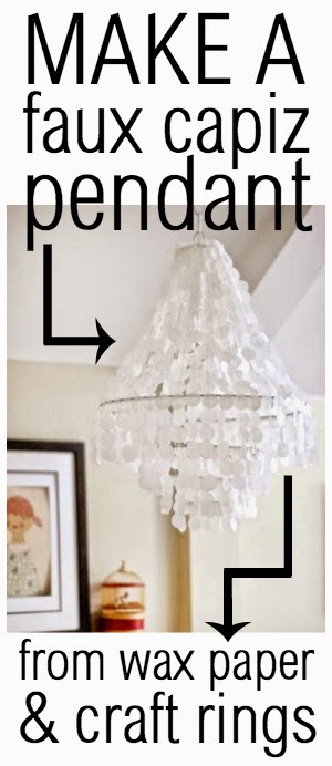 How to make a faux capiz pendant from wax paper and craft rings - by The Chronicles of Home