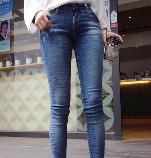 Stone Washed Classic Skinny Jeans