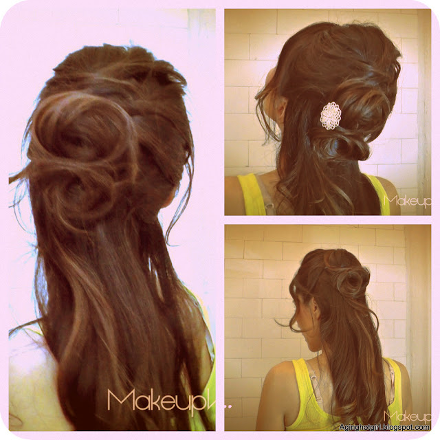How to Flower Bun Chignon - Make a Rose hairstyles updos half-up, half-down hair coiffure