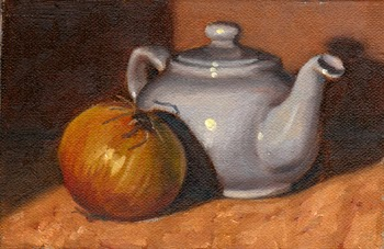 Oil painting of a brown onion, under lamplight, casting a shadow on a small white teapot.