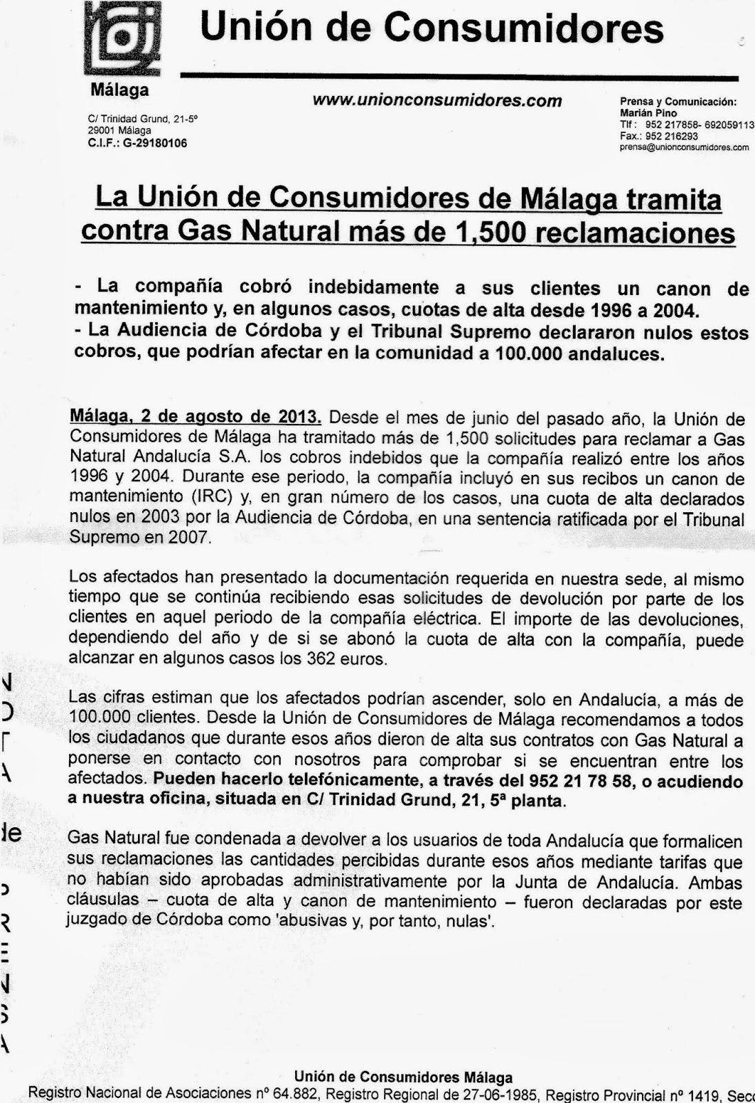 Frente c vico m laga campa a informativa de reclamaci n for Gas natural malaga