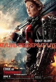 "Image description: Movie poster of the movie ""Edge of Tomorrow"" featuring a Emily Blunt wearing an armor suit and a sword against the backdrop of a burning sky and a destroyed city."
