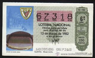 Décimo de lotería con la imagen de San Mamés como sede del Mundial 82