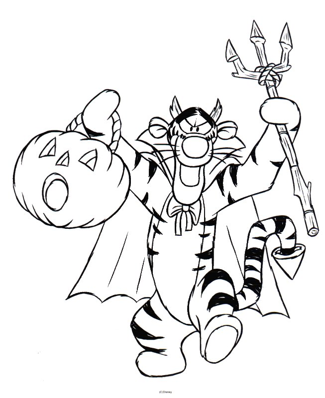 the pooh halloween coloring pages - photo#7
