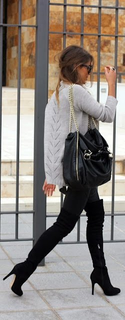 Light Grey Long Sleeve Sweater With Black Leather Bag And Over Knee Boot
