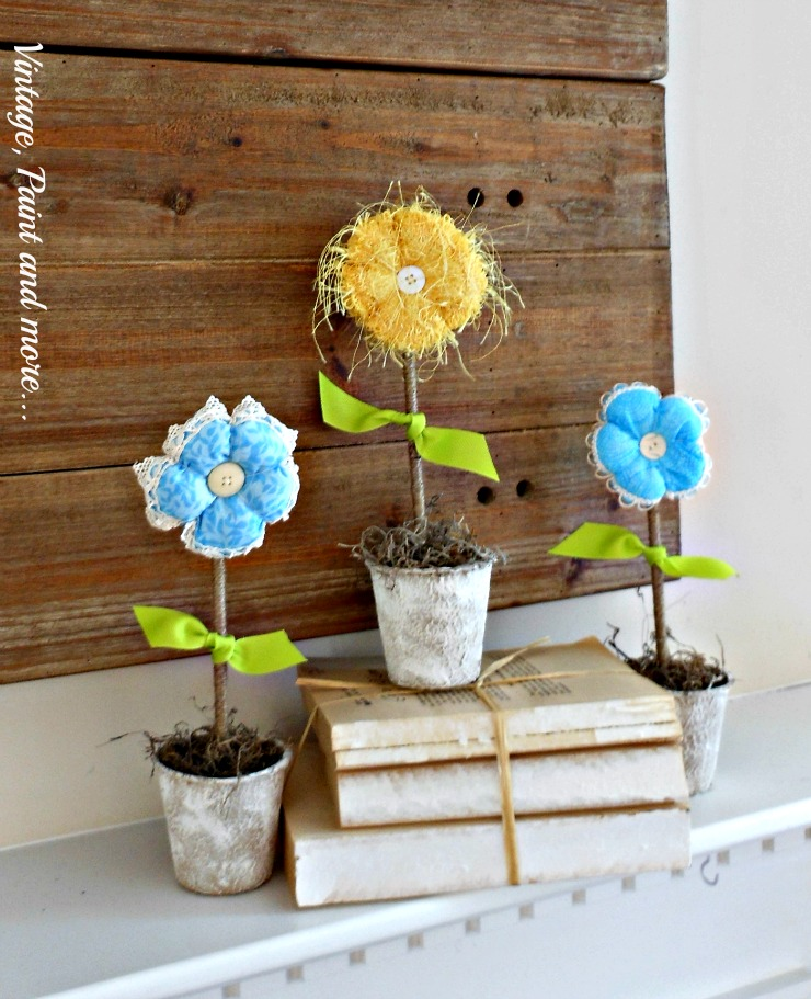 Vintage, Paint and more... DIY fabric flowers in painted peat pots done on a budget for a Spring mantel