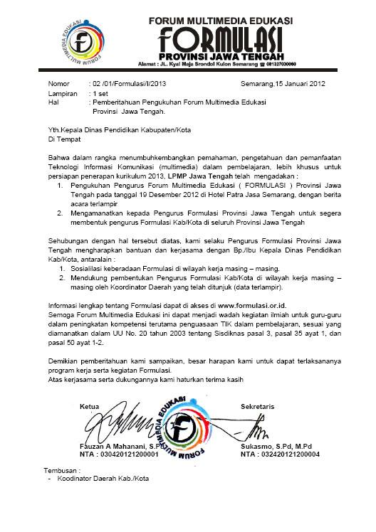 scane Surat pemberitahuan ke kepala dinas