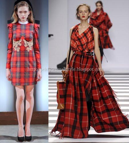 Червени карирани рокли Есен-Зима 2011-2012