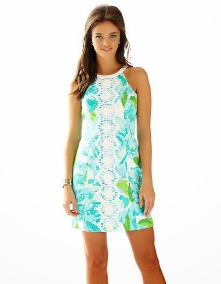 lilly pulitzer pearl lace detail shift dress poolside blue first impression
