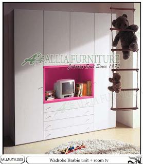lemari pakaian tv minimalis tipe Barbie