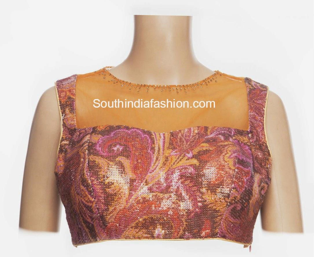 boat neck net blouse deisgns