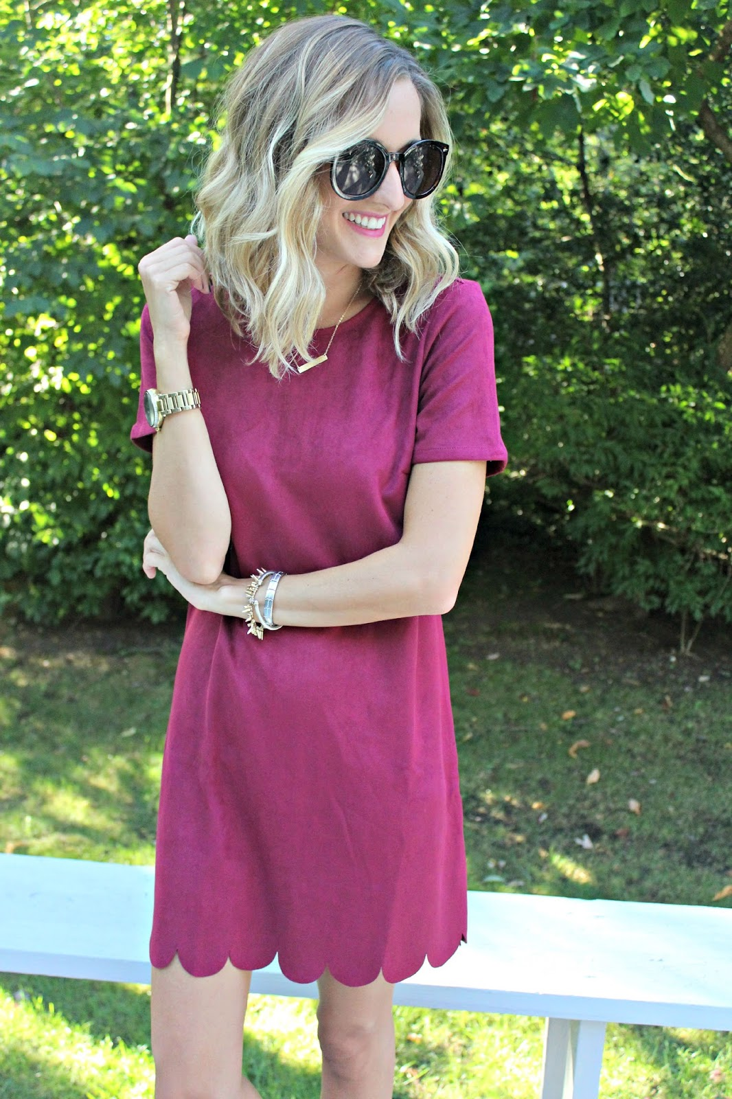 scallop suede dress