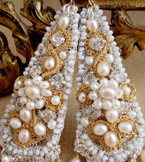 Gold Silver Bridal Chandeliers, Ivory Peach Pearls