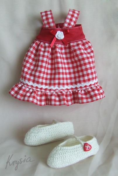 króliczek tilda - ubranka - sukienka i buciki szydełkowe