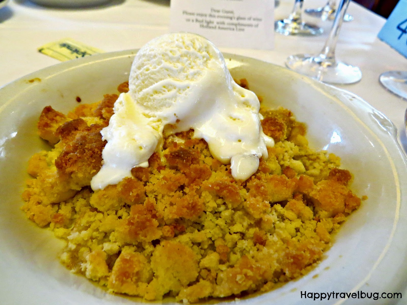 Pineapple crumble from dinner on our Holland America Cruise