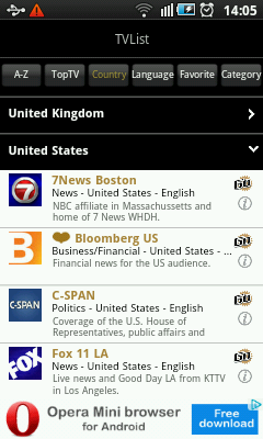 Android TV App - Channel Listing By Country
