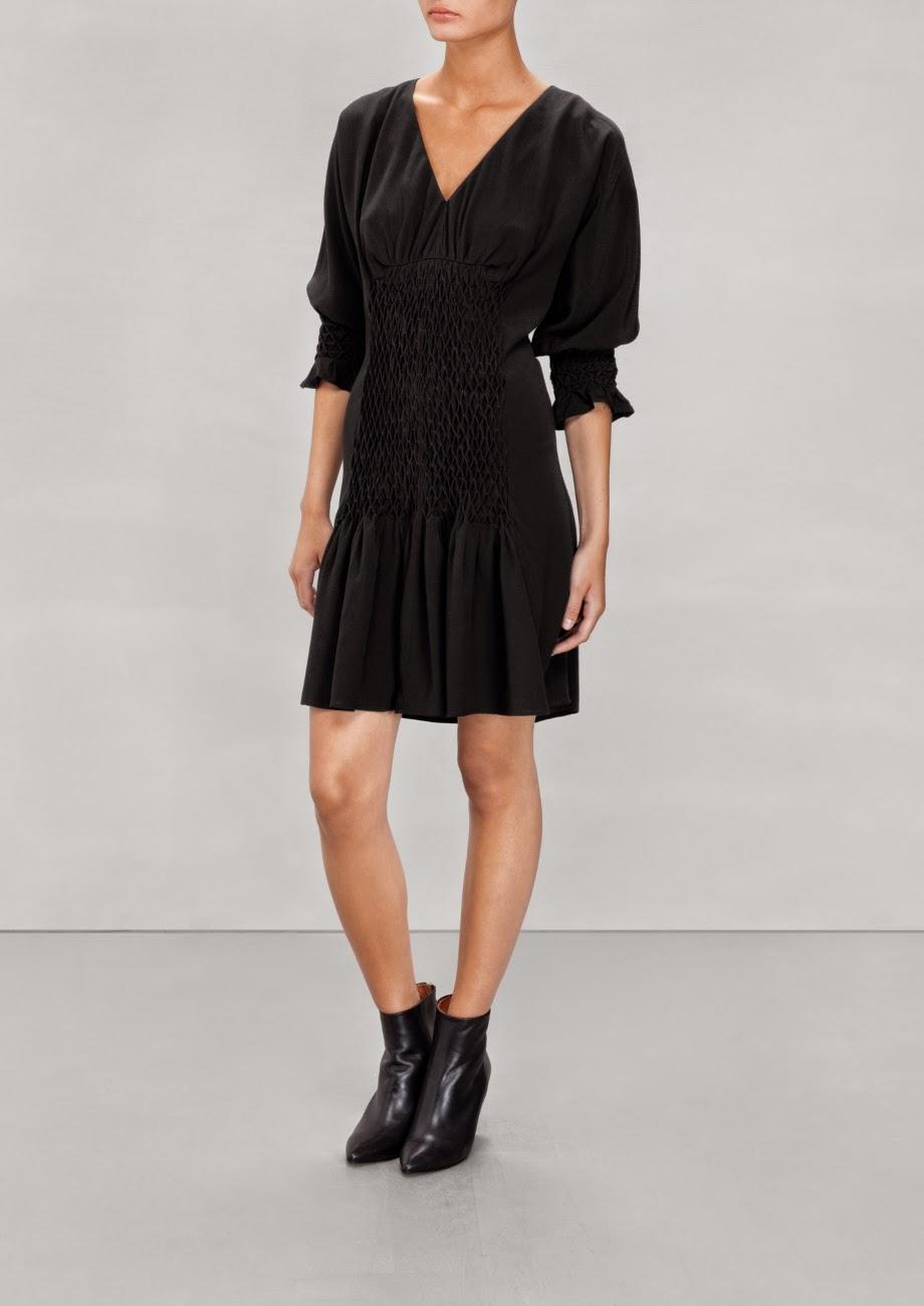 gathered black dress