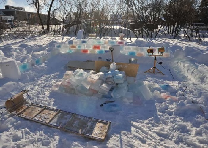 But then, he began building something. The construction took almost 6 full nights of frigid work of temperature well below zero.