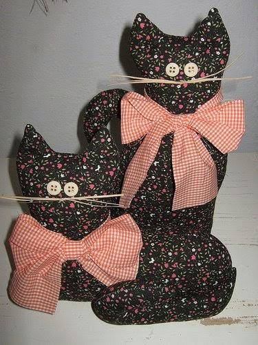 Molde gatinhos de pano com laço