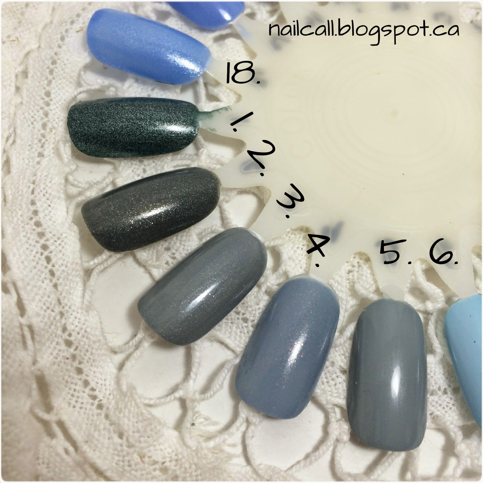 nail polish swatches 1-6 & 18