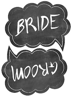 Wedding photo booth props free printable Bride Groom
