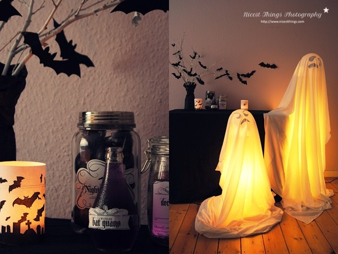 Halloween Party Deko Ideen DIY Leuchtgeister