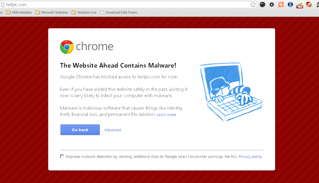 Google Chrome block access to twitpic for Malware risk