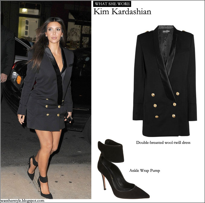 WHAT SHE WORE: Kim Kardashian in black double breasted dress ...