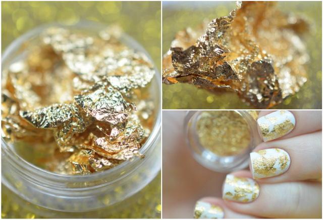 На ногтях золотая фольга