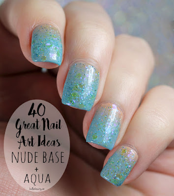 40 Great Nail Art Ideas: Nude Base + Aqua