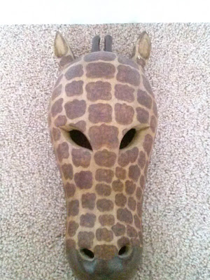 Handmade wood carved Giraffe mask made in India