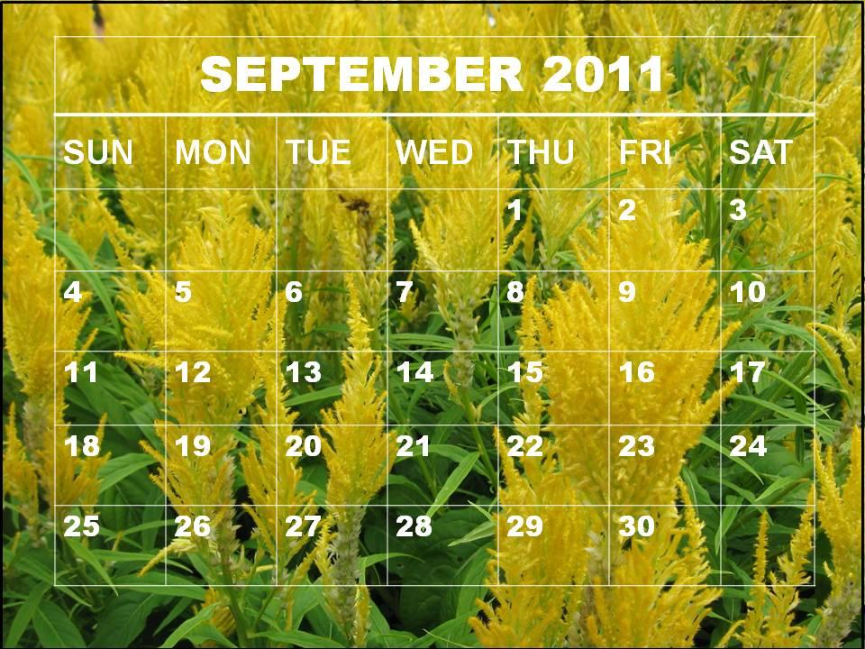 calendar september 2011. Blank Calendar 2011 September