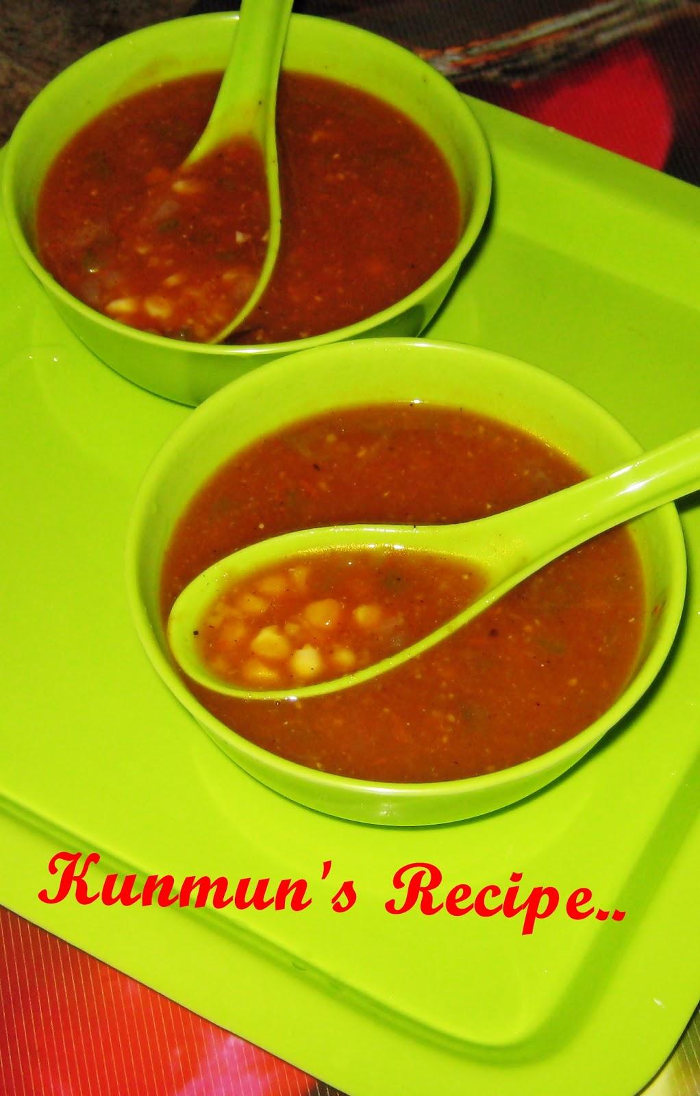 Kunmun's Delicious Kitchen: SPICY TOMATO-SWEET CORN SOUP