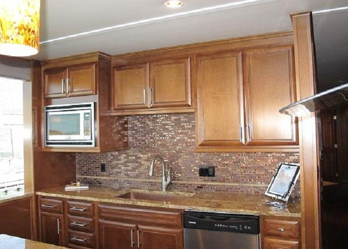 Elegant Brown Kitchen Glass Tile With Recycled Wood Cabinetjpg