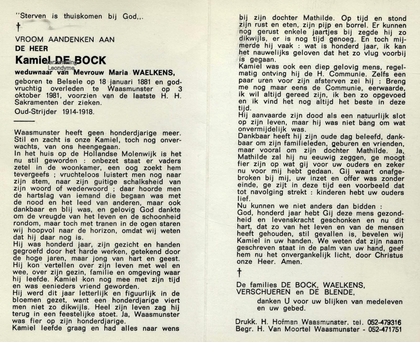 Bidprentje, Kamiel De Bock 1881-1991. Verzameling Leondyme