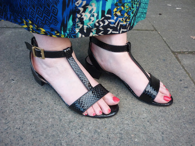 Black Mock Croc, Block Heeled Sandals   Petite Silver Vixen