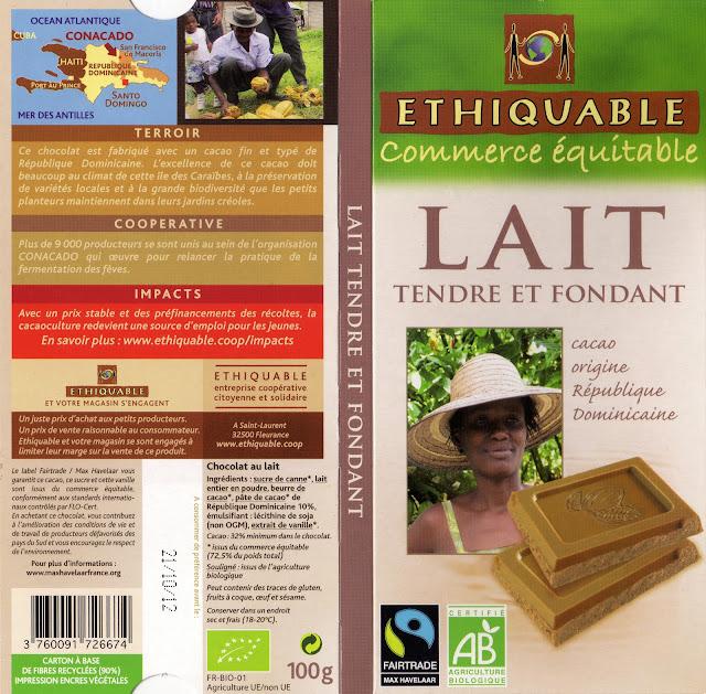 tablette de chocolat lait dégustation ethiquable république dominicaine lait tendre et fondant