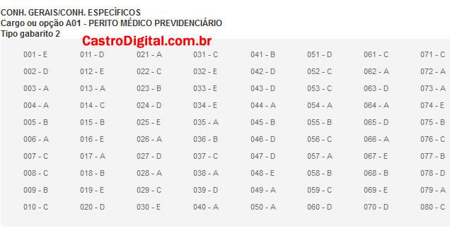 IMAGEM - Gabarito oficial do concurso do INSS 2011/2012 - Cargo Perito Médico Previdenciário - Tipo 02