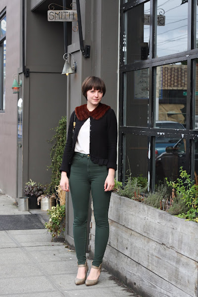 Amanda King Seattle Street Style bangs high waisted pants