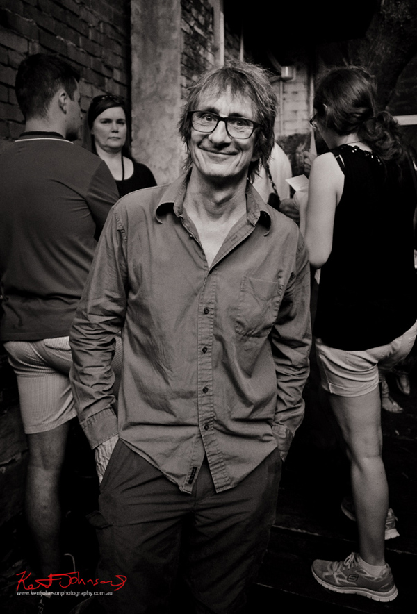 Portrait of Tony Mott at his book launch at Leonard Mattis Studio, Surry Hills, Sydney. Photo by Kent Johnson.