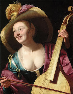 A young woman playing a viola da gamba, Gerrit van Honthorst