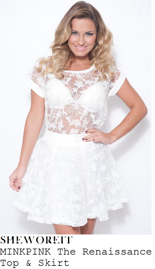 sam-faiers-white-cream-lace-short-sleeve-t-shirt-and-skirt-dress-towie