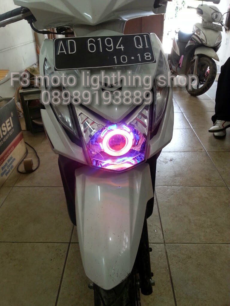 F3MotoLightingShop Projie Angel Eyes Hid Untuk Honda Beat FI