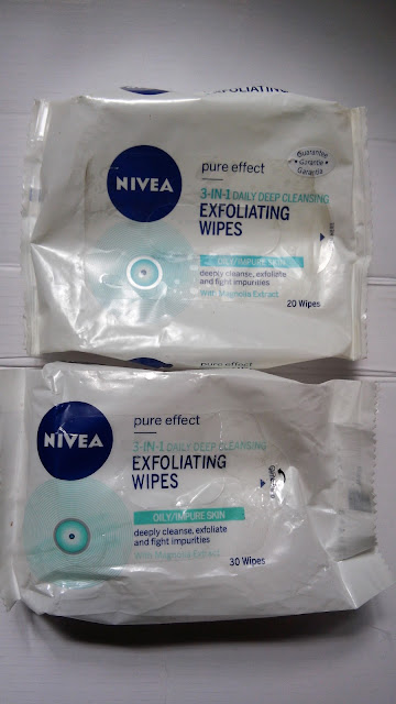 an original and a fake Nivea Pure Effect 3-in-1 Daily Deep Cleansing Exfoliating Wipes.