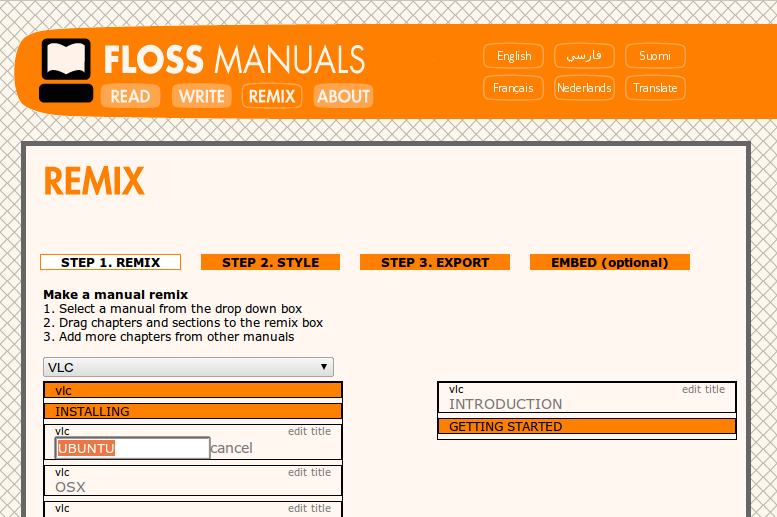 Melakukan remix ebook di FLOSS Manuals