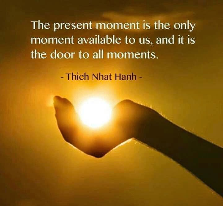 """The present moment is the only moment available to us, and it is the door to all moments."" ~ Thich Nhat Hanh; Picture of a human hand cupping the sun."